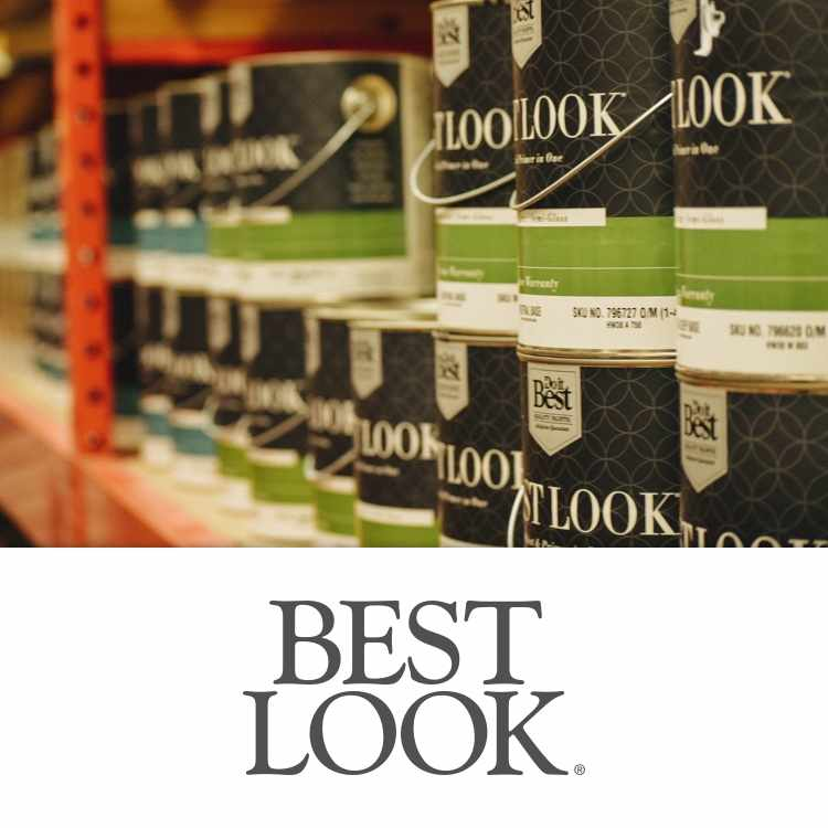 Best Look logo with paint cans in aisle
