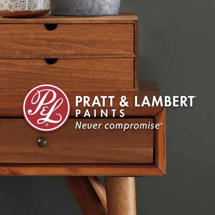 Pratt & Lambert logo with grey-painted room