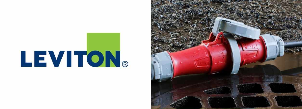 Leviton logo with red cord accessories