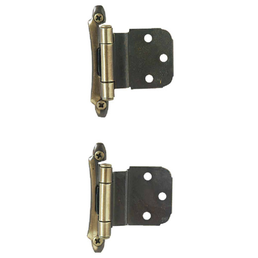 Amerock Antique Brass 3/8 In. Self-Closing Inset Hinge, (2-Pack)