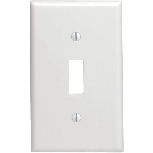Leviton 1-Gang Thermoplastic Nylon Mid-Way Toggle Switch Wall Plate, White