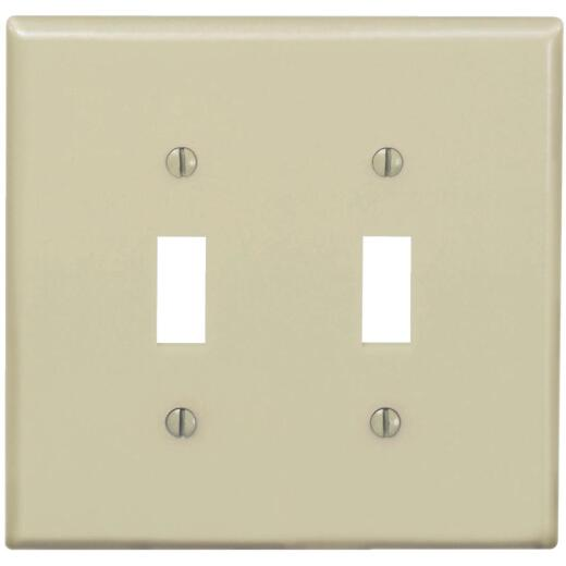 Leviton 2-Gang Thermoplastic Nylon Mid-Way Toggle Switch Wall Plate, Ivory