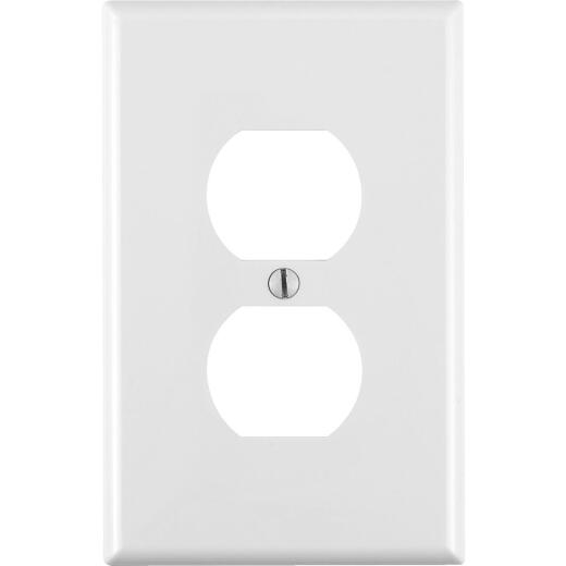 Leviton Mid-Way 1-Gang Thermoplastic Nylon Outlet Wall Plate, White