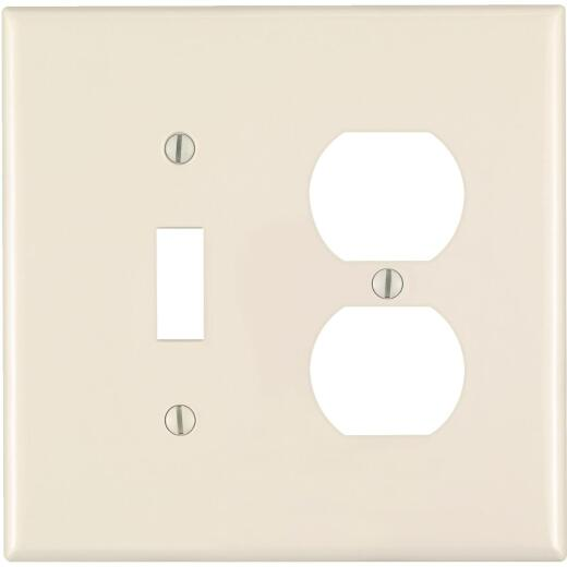Leviton Mid-Way 2-Gang Thermoplastic Nylon Single Toggle/Duplex Outlet Wall Plate, Light Almond