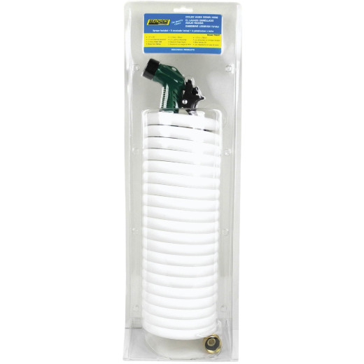 Seachoice 1/2 In. Dia x 25 Ft. L White Coiled Washdown Hose w/Sprayer and Fittings