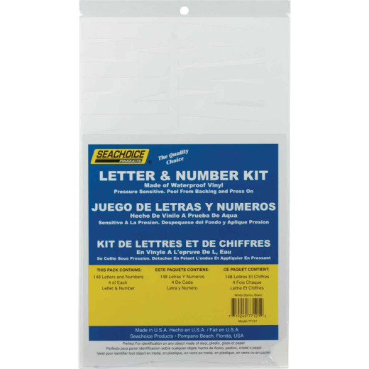 Seachoice 3-1/4 In. White Solid Vinyl Letter & Number Kit