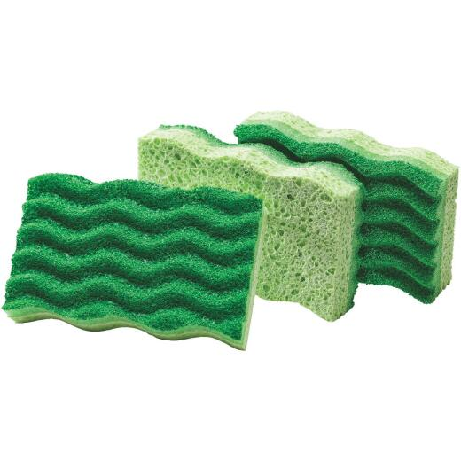 Libman 4.5 In. x 3 In. Green Medium Duty Scrubbing Sponge (2-Count)