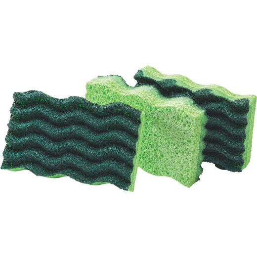 Libman 4.5 In. x 3 In. Yellow & Green Heavy Duty Scrub Heavy Duty Sponge (3-Count)