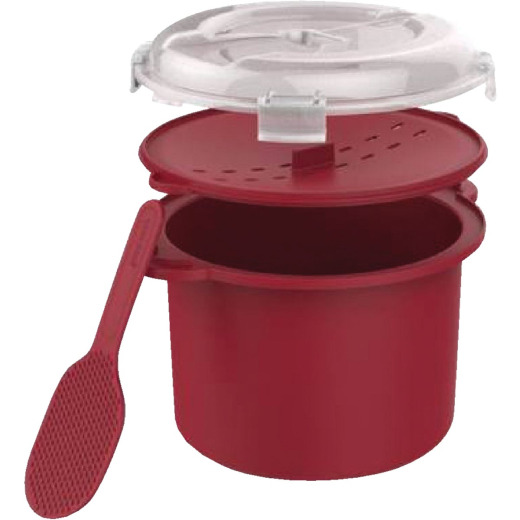 Goodcook 3 Cup Plastic Red Microwave Rice Steamer