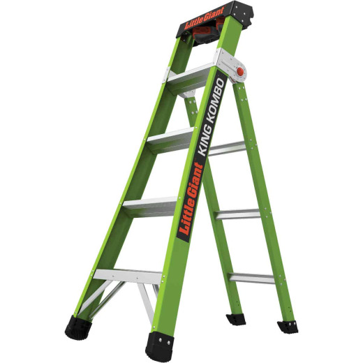 Little Giant King Kombo 5 Ft. To 8 Ft. 3-N-1 All Access Fiberglass Ladder With 375 Lb. Load Capacity Type 1AA Ladder Rating