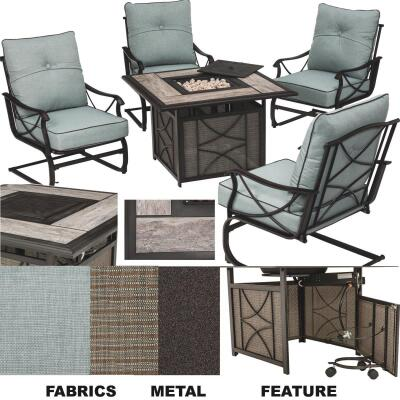 Outdoor Expressions Tahoe 5-Piece Steel Spring Chairs Fire Pit Chat Set with Cushions